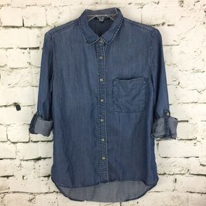 9fb950811 Velvet Heart Button Down denim shirt high low